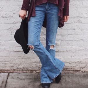 Free People destroyed flares jeans